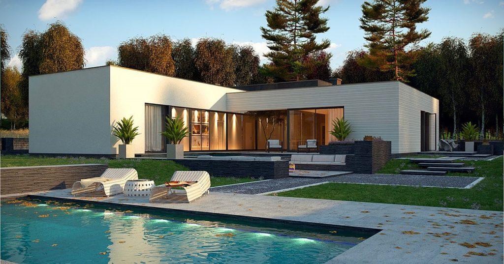 z ravno streho skandinavske monta ne hi e. Black Bedroom Furniture Sets. Home Design Ideas